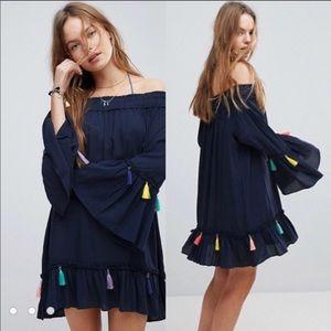 Chelsea & Theodore • Off Shoulder Tassel Dress